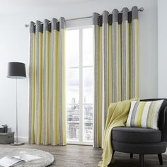 These fully lined woven curtains feature a vertical stripe design with a contemporary ring top header. These curtains would make a great addition to any room. Set Includes: One Pair of Ring Top Curtains. Grey Striped Curtains, Neutral Curtains, Yellow Curtains, Ready Made Eyelet Curtains, Made To Measure Blinds, Living Room Green, White Rooms, Green And Grey, Grey Yellow