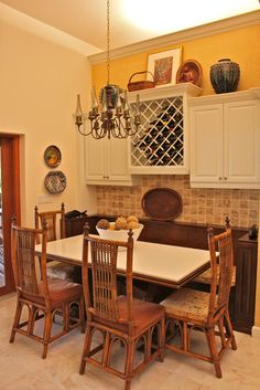 banquette with wine storage above