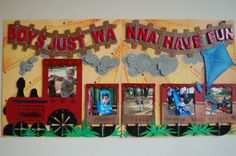 layout by Jamie Penson.... ONLY CARDSTOCK!!! ... and a few techniques... embossing, stitching and 3D popping!.... love subtle sunrays, the embossing on the train cars and smoke puffs, the train tracks with shiny title, EVERYTHING!!... and more eyelets used up too!