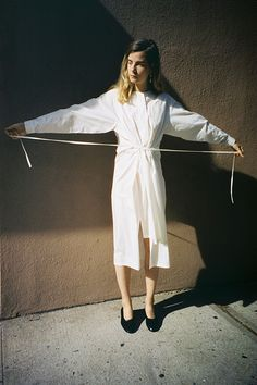 Nehera Dove Long Shirt Dress in Beige Washed at MNZ