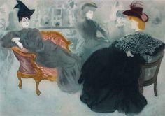 Jacques Villon (Gaston Duchamp). French, 1875-1963. - Comedie de Societe - La Parisienne,c. 1903. - Le potin 1905 Aquatint, etching, and drypoint in color on paper.