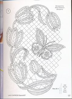 Lace Express et enkelt motiv til rejsekufferten Lace Express, tulips and butterfly chart I think I'd like this better without all the background mesh. It would be pretty mounted and framed. for carrickmacross lace Form Crochet, Crochet Lace, Lace Embroidery, Embroidery Patterns, Bruges Lace, Romanian Lace, Bobbin Lacemaking, Lace Art, Bobbin Lace Patterns