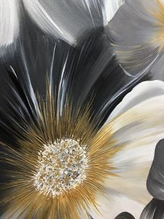 Flower Painting, Wall Art Large Abstract Painting Gray Painting Gold Abstract Painting Abstract Original Painting On Canvas by Julia Kotenko , Blumenmalerei Wall Art Large Abstract Painting Gray Painting Large Canvas Art, Large Wall Art, Art Feuille D'or, Easy Paintings, Original Paintings, Grand Art Mural, Gold Leaf Art, Black And White Artwork, Oil Painting On Canvas