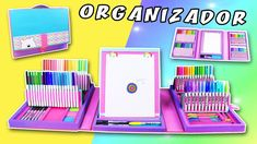 ORGANIZADOR CARPETA para MÁS de 120 ✏️UTILES ESCOLARES | Manualidades aP... Diy Crafts For School, Diy Crafts For Girls, Diy Back To School, Fun Crafts To Do, Diy Crafts Hacks, Diy Desktop Organizer, Diy Stationery Organizer, Desk Organization Diy, Folder Organization