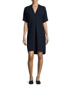 Quarter-Sleeve Double-V Crepe Dress