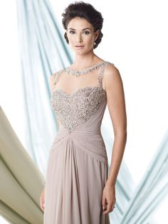 Montage By Mon Cheri 114910 - Sleeveless chiffon A-line dress with illusion bateau neckline trimmed with ornate hand-beading, sweetheart bodice encrusted with beading features an unique beaded illusion racer back, midriff and skirt gathered at center, sweep train, suitable as a dress to wear to a wedding. Matching shawl included.