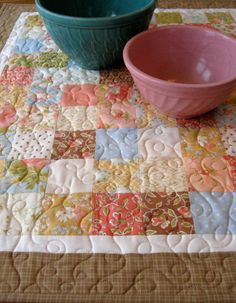 Quilted Table Topper  Wall Hanging   Blue Peach and by SallyManke, $35.00