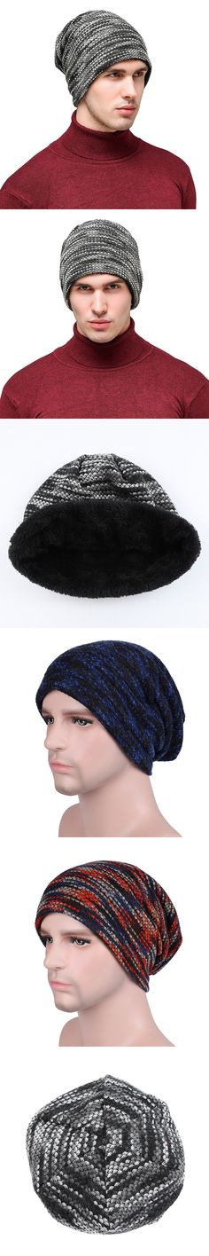 d571332e54b Winter Cap Fleece Slouchy Beanie Men Striped Hat Male Knitted Beanie Casual  Boys Hats Colorful Skullies Woolen Knit Warm Caps