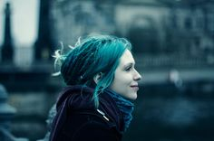 blue hair, dreads, girl, piercing, scarf - inspiring picture on Favim.com