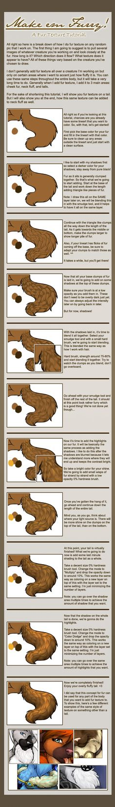 Make 'em Furry!: A fur texture tutorial By Clemikou on furaffinity.net http://www.furaffinity.net/view/8482767/