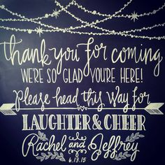 """Wedding Welcome Sign: """"Thank you for coming, we're so glad you're here! Please head this way for laughter and cheer"""" by ShoesWithTattoos on Etsy"""