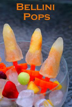 Bellini Pops from Poptails Ingredients 1-1/4 c flattened prosecco 20 ...