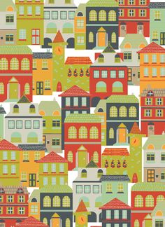 City illustration... would love to paint the houses in my neighbourhood like this