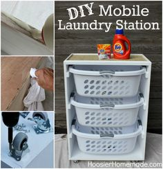 Mobile-Laundry-Storage- http://thewhoot.com.au/whoot-news/diy/pallet-laundry-basket-dresser