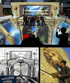 Check out this three amazing illusion by artist Qi Xinghua. 3d Street Painting, 3d Street Art, 3d Painting, Cool Illusions, Optical Illusions, Art Optical, Sidewalk Chalk Art, Illusion Art, Sand Art