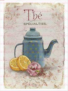 Bügelbild Tee Shabby Chic Vintage 1549 von Doreen`s Bastelstube  - Kreativ & Außergewöhnlich auf DaWanda.com