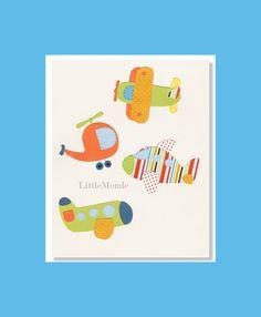 Airplanes Nursery Print Baby Boy Nursery Art by LittleMonde, $16.00