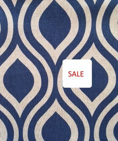 ON SALE - Navy Blue Geometric Fabric - Blue Ogee Curtain Material -  Contemporary Dark Blue Throw Pillow Fabrics