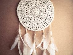 Dream Catcher - White Mandala - Unique Dream Catcher with White Handmade Crochet Web and White Feathers - Mobile, Home Decor, Decoration