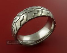 Tire Tread Styled Titanium Ring