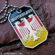 GERMANY EAGLE FLAG DEUTSCHLAND PENDANT BUNDESADLER DOG TAG BALL CHAIN NECKLACE by VENICEBEE. $9.95