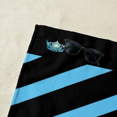 Miss America Turquoise Stripe Crown Beach Towel - stripes gifts cyo unique style