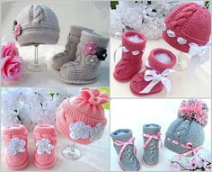 I love these cable knit baby hat and booties shoes, so beautiful with crochet flowerorribbon flower embellishments. They are knitted with basic garter and stockinette stitches, with cable knit vertically at front of the booties and hat, or horizontally as decoration at the top of them. If you are a seasoned knitter, you may figure out how to create it by seeing the photo. But for beginners as me, we can get the paid pattern fromElena Mitchellon Etsy. Elena Mitchell has various versions…