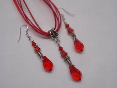Silver & Red Crystal Art Deco Style Jewelry by paulandninascrafts, $12.00