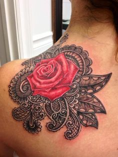 My first tattoo!  Lacey red rose. Similar to the lace on my wedding gown.