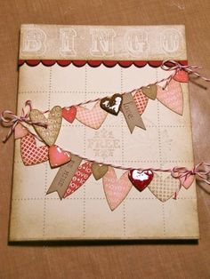 Twine, bingo and distressed hearts... what's not to love?