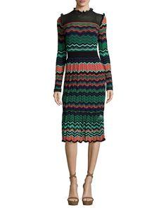 M Missoni Long-Sleeve Ripple-Stitch Midi Dress, Coral