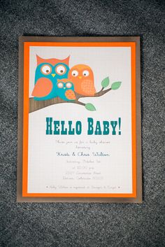 Orange and aqua baby shower