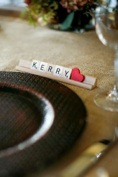 Had a bride this year that used scrabble pieces similar to this pic!  It was really neat