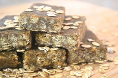 Chewy gluten free bars! These nutrient-dense bars contain pumpkin seed butter (ground pumpkin seeds), chia seeds, hemp seeds and flax seeds. Do you have a food allergy, sensitivity or intolerance? Start following allergy free food today. All free, allergy free. The nutrient-conscious recipes in this site are egg free, dairy free, mustard free, peanut free, seafood free, sesame free, soy free, sulphite free, tree nut free and wheat free / gluten free.