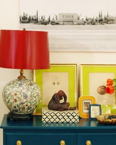 Great framing and sassy colors! Lamp shade #DIY via Little Green Notebook