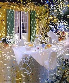 Laurent Parcelier French Artist. Terraces ~ It amazes me how the artist has captured the sunlight filtering through the vine covered pergola.  It looks more like a photograph than a painting.