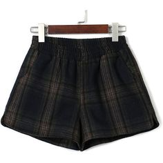 Navy Plaid Elastic Waist Pocket Detail Woolen Shorts (775 HNL) ❤ liked on Polyvore featuring shorts, elastic waist shorts, stretch waist shorts, navy blue shorts, pocket shorts and tartan shorts