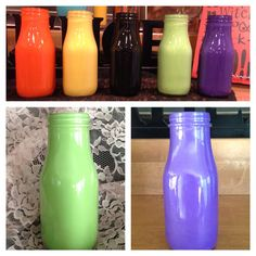 Hand painted glass milk jugs by Deborahsdesignndecor on Etsy