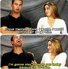 Theo James and Shailene Woodley Divergent Memes, Divergent Hunger Games, Divergent Fandom, Divergent Trilogy, Divergent Insurgent Allegiant, Insurgent Quotes, Disney Divergent, Harrison Ford, Theo James