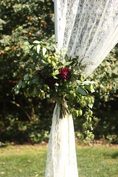 Arbor Flowers. Lace Curtain. Dahlia's Hops. Greens.  http://forestandfieldcreative.com