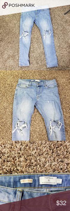 Topman Jeans Mens 32S Stretch Skinny Light Wash Topman Jeans Mens 32S Stretch Skinny Light Wash Distressed Destroyed c5 Waist 17 Rise 10 Inseam 28 Topman Jeans Skinny