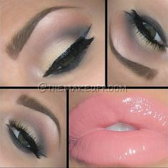 Romantic eyes and baby pink lips