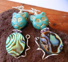 Cat Earrings Turquoise Abalone Sterling Silver by jayesjewellrey, $22.00