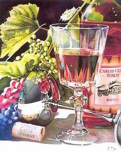 Transparency and metal in Watercolor. Watercolour Painting, Floral Watercolor, Painting & Drawing, Watercolours, Wine Art, In Vino Veritas, Art Moderne, Arte Floral, Art Abstrait