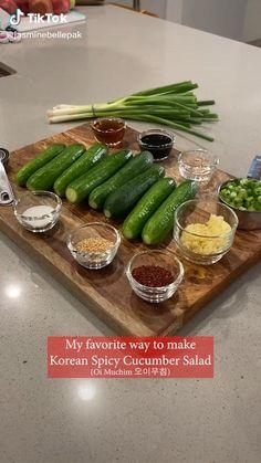 Veggie Recipes, Asian Recipes, Vegetarian Recipes, Cooking Recipes, Healthy Recipes, Mexican Food Recipes, Spicy Cucumber Salad, Cucumber Kimchi, Persian Cucumber
