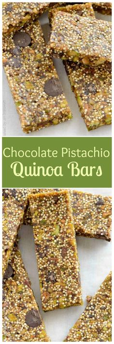 Quinoa bars made with pistachios, chocolate chips, and dates. Satisfy your cravings with this low fat and delicious snack option.