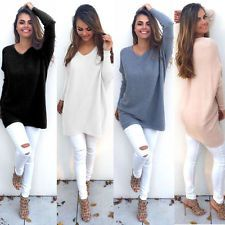 Womens Ladies V-Neck Chunky Knitted Oversized Sweater Sweatshirt Jumper Dresses