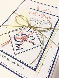 "Beach Wedding Invitation RSVP - Starfish Wedding Invitation and Response Card - Envelope - Monogram Tag ""Stylish Starfish"" Coral Reef Navy by PaintTheDayDesigns on Etsy"