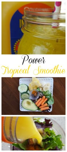 Power Tropical Smoothie Recipe on Having Fun Saving and Cooking.  Smoothies are the easiest way to fill your body with fruits, vegetables, and lots of good stuff all in one meal.  Plus, smoothies take less 5 minutes to make!  Where else can you get a power breakfast in that amount of time?