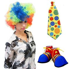 Adult Size Clown Costume Wig Shoes and Tie Set Of 3 * Check this awesome product by going to the link at the image.